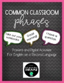ESL - English Common Classroom Phrases - Posters and DIGIT