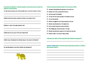 English Comprehension (Fiction) + Question page - approx ...