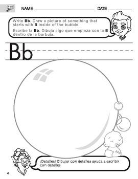 English Consonant B worksheet with Spanish Instructions