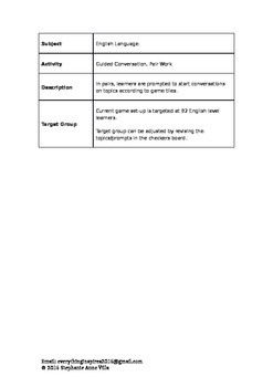 English Conversation Activity - Pair Work - Checkers