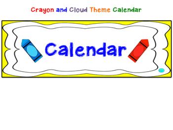 English Crayon and Cloud Theme Calendar