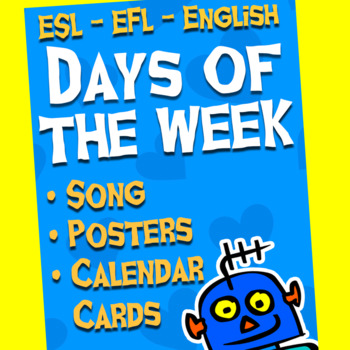 English Days of the Week Bundle - Flash Cards, Song, Posters, Calendar Cards