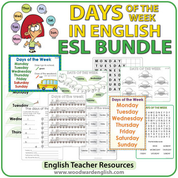 english days of the week bundle of esl activities by woodward
