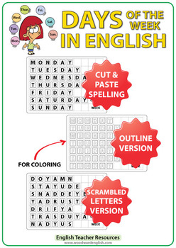 English Days of the Week Spelling - Cut and Paste