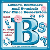 English Digital Letters, numbers and symbols decorate classroom - BluePink