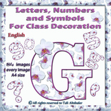 English Digital Letters, numbers and symbols decorate  cla