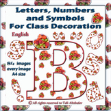 English Digital Letters, numbers and symbols decorate clas