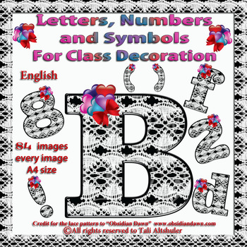English Digital Letters, numbers and symbols decorate classroom - Hearts