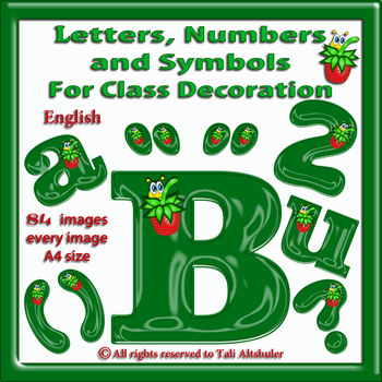 English Digital Letters, numbers and symbols decorate classroom - Strawberry
