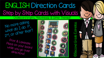 English Direction Cards with Steps & Visuals
