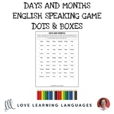 English Dots and Boxes Game - Days and months - No prep printable