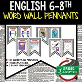 English ELA Common Core Word Wall Pennants (Grades 6-8), E