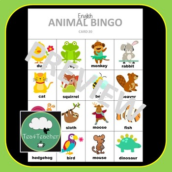 English ELL ESL Animals Vocabulary Bingo - English Bingo Game K-2/Primary Animal