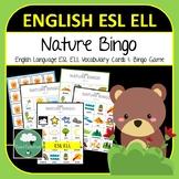 English ELL ESL Nature Vocabulary Bingo - English Bingo Game Verbs Actions K-6