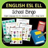 English ELL ESL School Vocabulary Bingo - English Bingo Game School Actions K-6