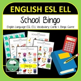Back to School Bingo Game English Language Vocabulary Game