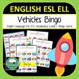 English ELL ESL Vehicles Vocabulary Bingo - English Bingo Game Vehicles for Kids