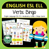 English ELL ESL Verbs Vocabulary Bingo - English Bingo Game Verbs Actions K-6