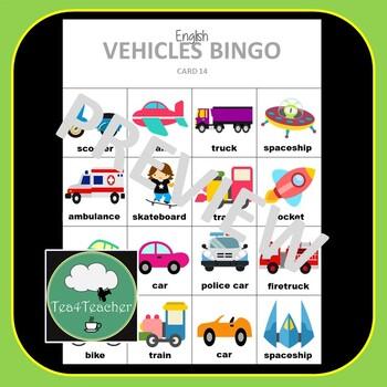 English ELL ESL Vocabulary Bingo Games BUNDLE x4 - Verbs Animals Food Vehicles
