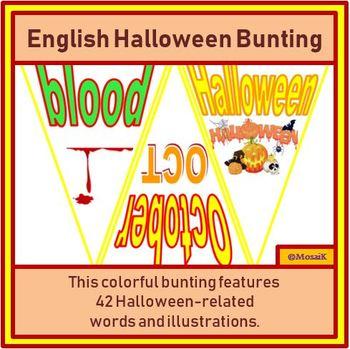 English, ESL, EAL, EFL: 42 flags for Halloween Bunting