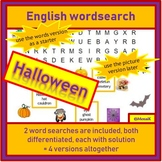 English, ESL, EFL - Halloween: 2 differentiated word searches using 20 words
