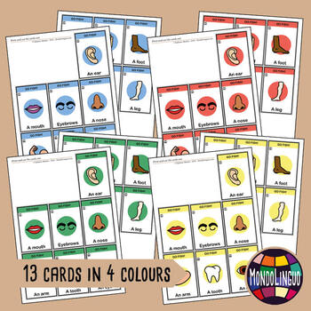 Card game to teach English/ESL: Go Fish about the body parts