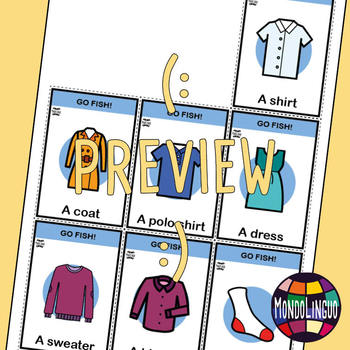 Card game to teach English/ESL: Go Fish about clothing