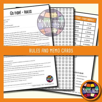 Card game to teach English/ESL - Go Fish - Farm Animals