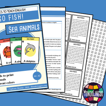 Card game to teach English/ESL: Go Fish about Sea Animals