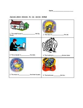 English / ESL - Prepositions Handout / Worksheet