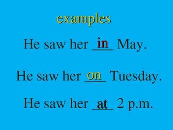 English / ESL Prepositions PowerPoint