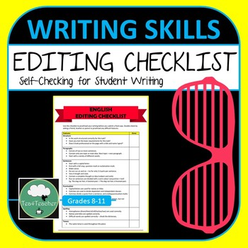 English Editing Checklist - Handy Worksheet Listing Items for Students
