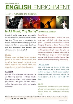 English Enrichment Level 3.6 - Compare and Contrast: Music