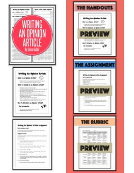 English: Writing An Opinion Article Plus Rubric Grades 6 - 12