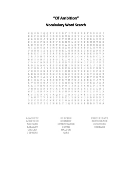 English Essays Vocabulary Word Search Packet - Bacon - Swift - Woolf - Dickens