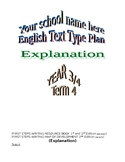English Explanation Text Type unit plan for a whole term