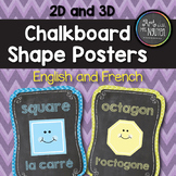 English/French Chevron Chalkboard 2D and 3D Shape Poster P