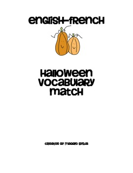 English-French Halloween vocabulary match