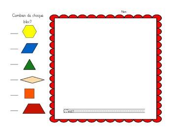 English & French Pattern block task cards -  Cartes à taches pour centre de bloc