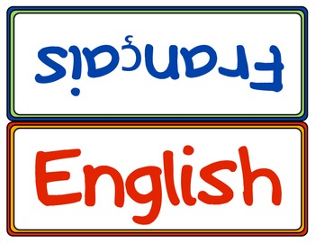 English French Sign Affiche Francais et Anglais