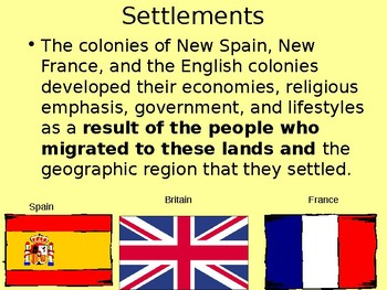 English, French, and Spanish Settlements