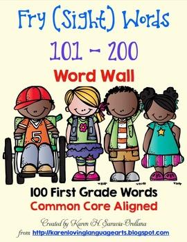 English Fry (sight) Words 0 - 1000 Word Wall