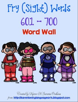 English Fry (sight) Words 601-700 Word Wall
