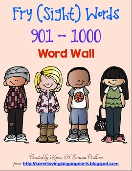 English Fry (sight) Words 901-1000 Word Wall