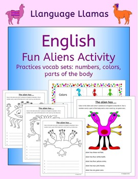 English Numbers, Colors, Parts of the Body - Fun Aliens Activity for ESL, EAL,