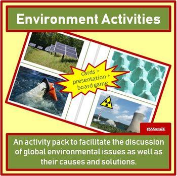 English, Geography, EAL, ESL, EFL: Environment Issues - PPP, cards, board game