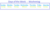 English - German Days of the Week