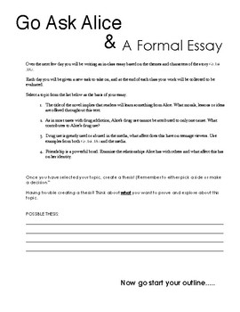English - Go Ask Alice Essay