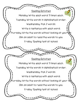 English Grade 2/3 Weekly Spelling Words and Activities