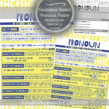 Pronoun Grammar Poster and Worksheet: Modern English Classroom Decor